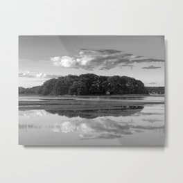 Annisquam river reflections Black and White Metal Print
