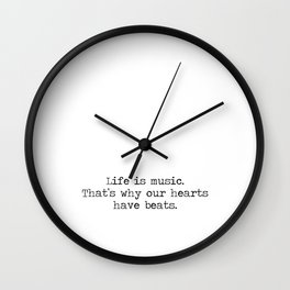 Hearts beat, life is music. Wall Clock