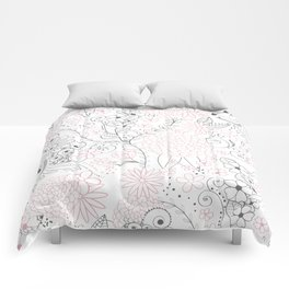 Classy doodles hand drawn floral artwork Comforters