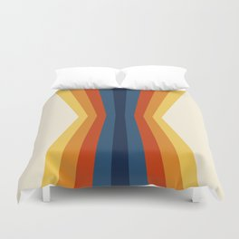 Bright 70's Retro Stripes Reflection Duvet Cover