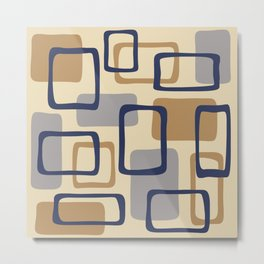 Mid Century Modern Abstract Squares Pattern 429 Metal Print