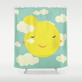 Miss Sunshine in clouds Shower Curtain