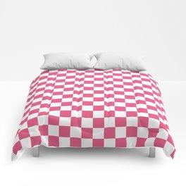Small Checkered - White and Dark Pink Comforters