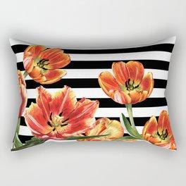 Red Orange Tulips Black Stripes Chic Rectangular Pillow