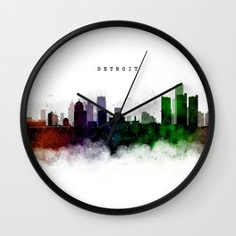 Detroit Watercolor Skyline Wall Clock