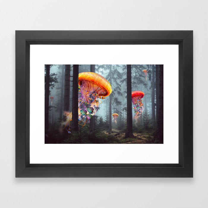 ElectricJellyfish Worlds in a Forest Framed Art Print