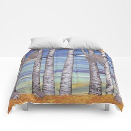 Canada geese, hedgehogs, and autumn birch trees Comforters