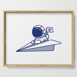 Cute Astronaut Riding Paper Plane Cartoon Illustration Serving Tray