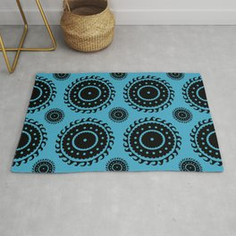 Blue and black pattern Rug