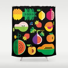 Fruit Medley Black Shower Curtain