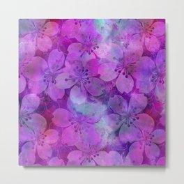 Fancy Floral watercolor pattern pink Metal Print