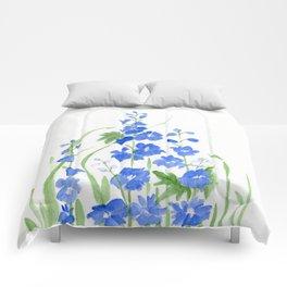 Blue Larkspur Watercolor Garden Flower Delicate Painting Comforters