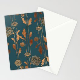 Art Deco Copper Flowers Stationery Cards