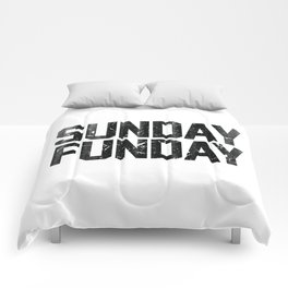 Sunday Funday Dirty Vintage Varsity Typography Print Comforters