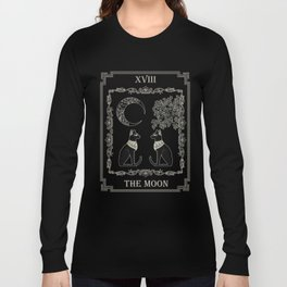 "Tarot ""The Moon"" - silver- cat version Long Sleeve T-shirt"