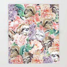 Because Sloths Watercolor Throw Blanket