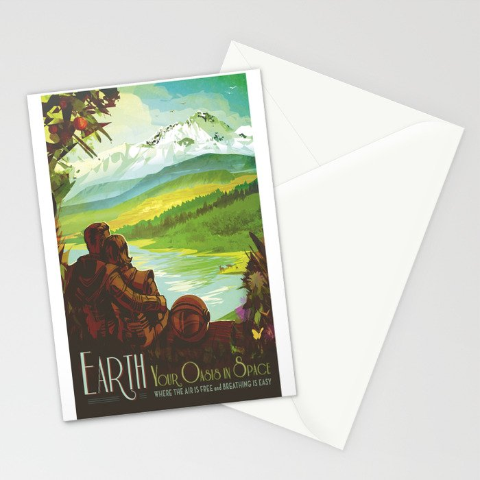 Earth Retro Space Poster Stationery Cards