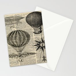 newspaper print victorian steampunk airship plane hot air balloon Stationery Cards