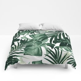 Tropical Jungle Leaves Pattern #4 #tropical #decor #art #society6 Comforters