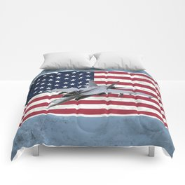 F18 Fighter Jet American Flag Comforters