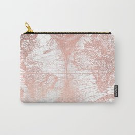 Rose Gold Pink Antique World Map by Nature Magick Carry-All Pouch