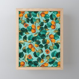 Peach and Leaf Pattern Framed Mini Art Print