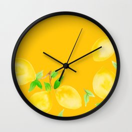 Lemons on Mustard Yellow Wall Clock