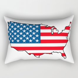 United States Map with American Flag Rectangular Pillow