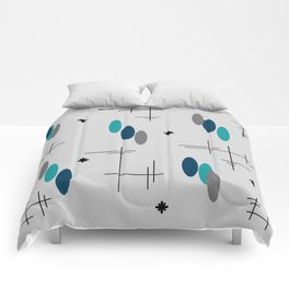Ovals and Starbursts Teal Comforters