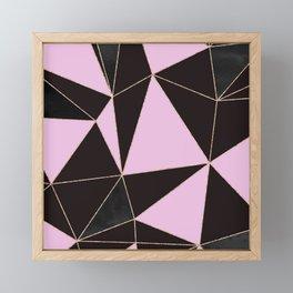 Geometrical elegant black pink watercolor rose gold stripes Framed Mini Art Print