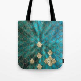 Multicolor Aqua And Gold Mermaid Scales -  Beautiful Abstract Pattern Tote Bag