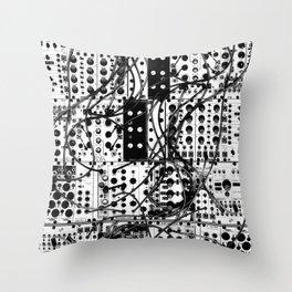 analog synthesizer system - modular black and white Throw Pillow