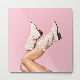 These Boots - Glitter Pink Metal Print