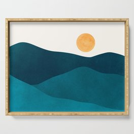 Teal Mountains / Minimalist Landscape Serving Tray