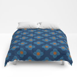 60s Floral Pattern Navy Blue Comforters