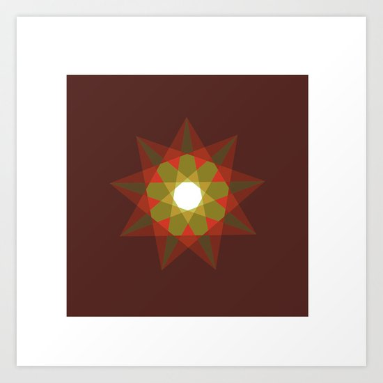 #351 Nine-sided christmas star – Geometry Daily Art Print