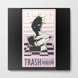Vaporwave Pink Trash Bust sculpture Metal Print