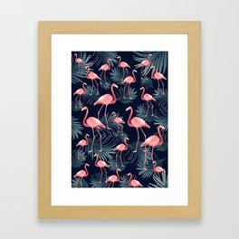 Summer Flamingo Palm Night Vibes #1 #tropical #decor #art #society6 Framed Art Print