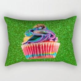 Cupcake Love   Rainbow Peanut Butter Cup on Green Sparkle Rectangular Pillow
