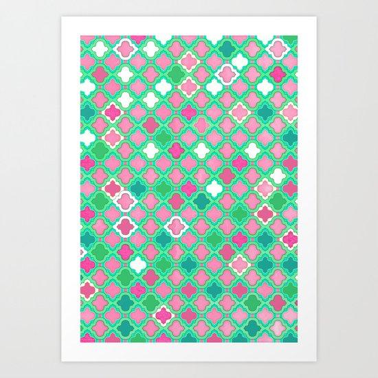 Girly Moroccan Lattice Pattern in Pink, Mint, Emerald Green & White Art Print