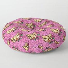 Leopard Kitty Tattoo Flash Floor Pillow