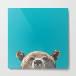 Bear - Blue Metal Print