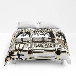 Drawing of Gothic Quarter in Barcelona Spain Comforters