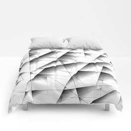 Exclusive light mosaic pattern of chaotic black and white fragments of glass, metal and ice floes. Comforters