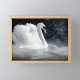 Fantasy swan on misty lake Framed Mini Art Print