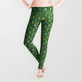 Tiki Birds - Green Pattern Leggings