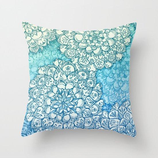 Blue Green Ballpoint Pen Doodle Poem Throw Pillow