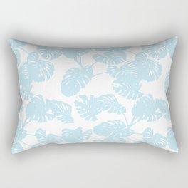 Blue monstera tropical leaves print Rectangular Pillow