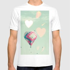 Hot air balloons nursery and heart bokeh on pale blue MEDIUM White Mens Fitted Tee