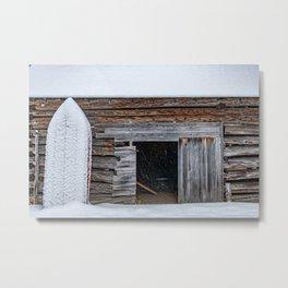 Winter Storage for a fishing boat near the barn in Hibernation Metal Print